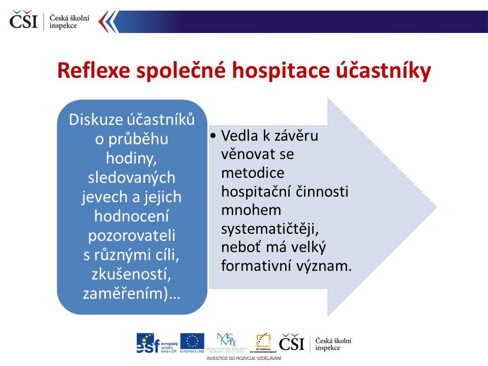Reflexe společné hospitace účastníky Vedla k závěru věnovat se metodice hospitační činnosti mnohem systematičtěji, neboť má velký formativní význam. D