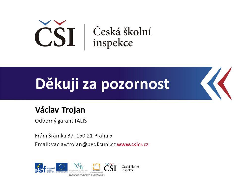 Děkuji za pozornost Václav Trojan Odborný garant TALIS Fráni Šrámka 37, 150 21 Praha 5 Email: vaclav.trojan@pedf.cuni.cz www.csicr.cz