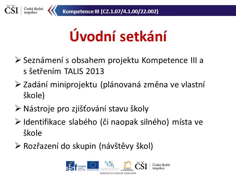 Úvodní setkání Kompetence III (CZ.1.07/4.1.00/22.002)  Seznámení s obsahem projektu Kompetence III a s šetřením TALIS 2013  Zadání miniprojektu (plá