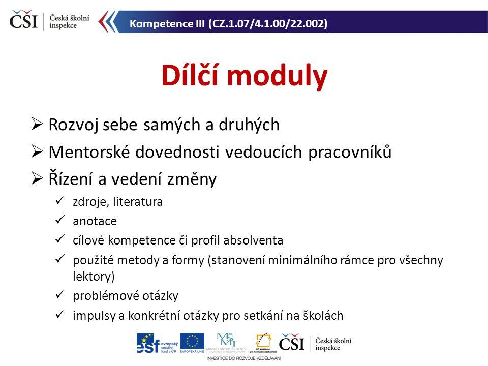 Dílčí moduly Kompetence III (CZ.1.07/4.1.00/22.002)  Rozvoj sebe samých a druhých  Mentorské dovednosti vedoucích pracovníků  Řízení a vedení změny