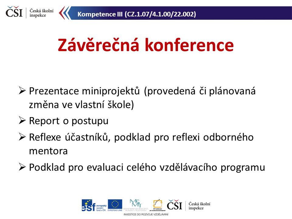Závěrečná konference Kompetence III (CZ.1.07/4.1.00/22.002)  Prezentace miniprojektů (provedená či plánovaná změna ve vlastní škole)  Report o postu