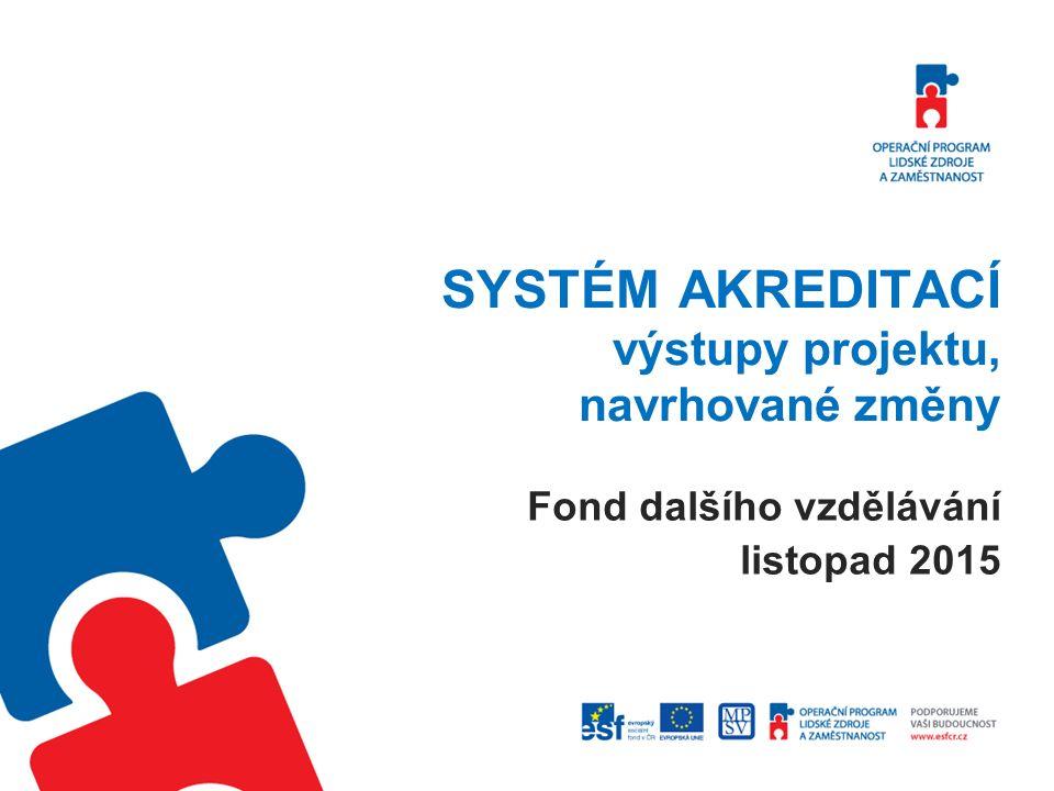 SYSTÉM AKREDITACÍ výstupy projektu, navrhované změny Fond dalšího vzdělávání listopad 2015