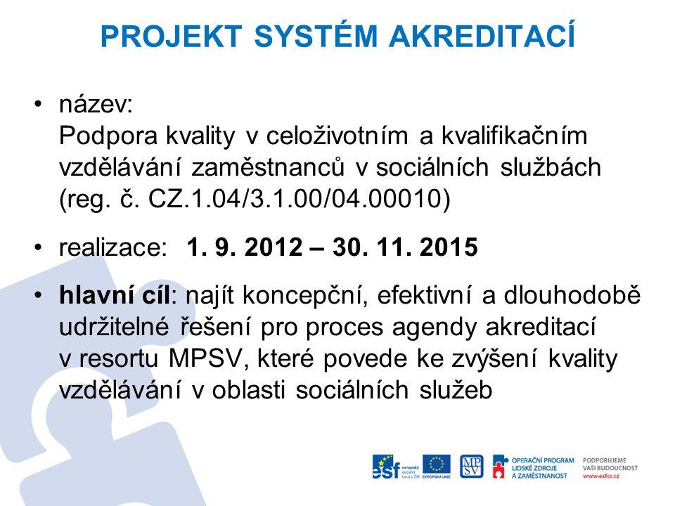 PROJEKT SYSTÉM AKREDITACÍ název: Podpora kvality v celoživotním a kvalifikačním vzdělávání zaměstnanců v sociálních službách (reg. č. CZ.1.04/3.1.00/0