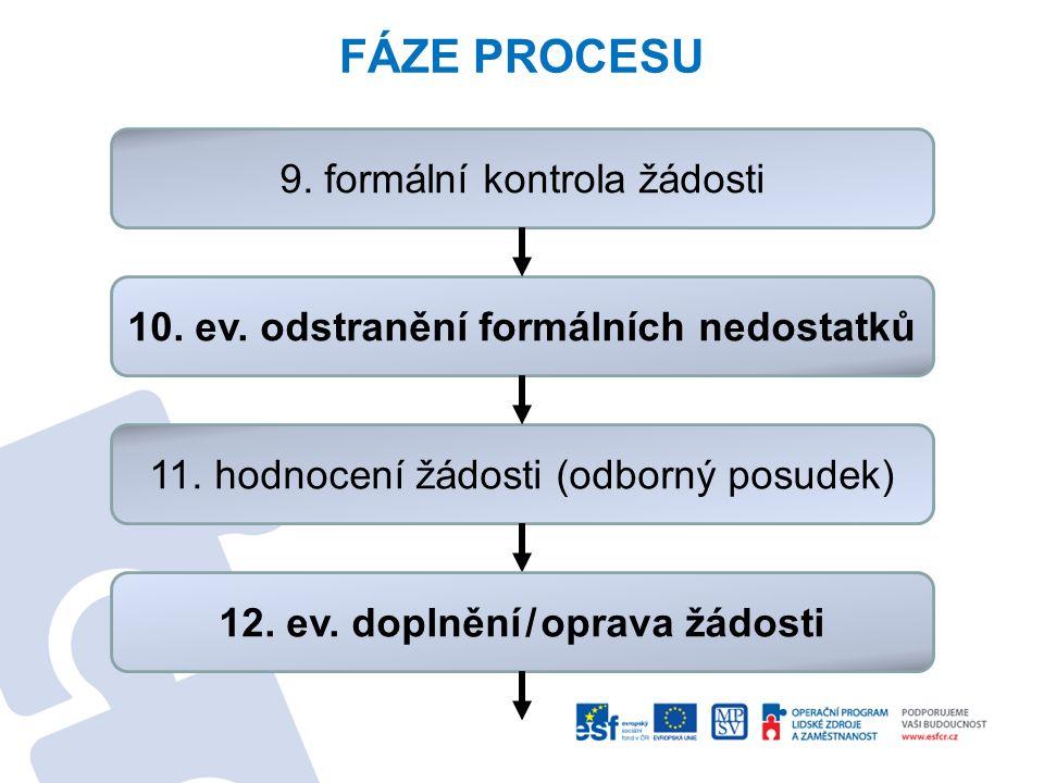 FÁZE PROCESU 9. formální kontrola žádosti 10. ev. odstranění formálních nedostatků 11. hodnocení žádosti (odborný posudek) 12. ev. doplnění/oprava žád