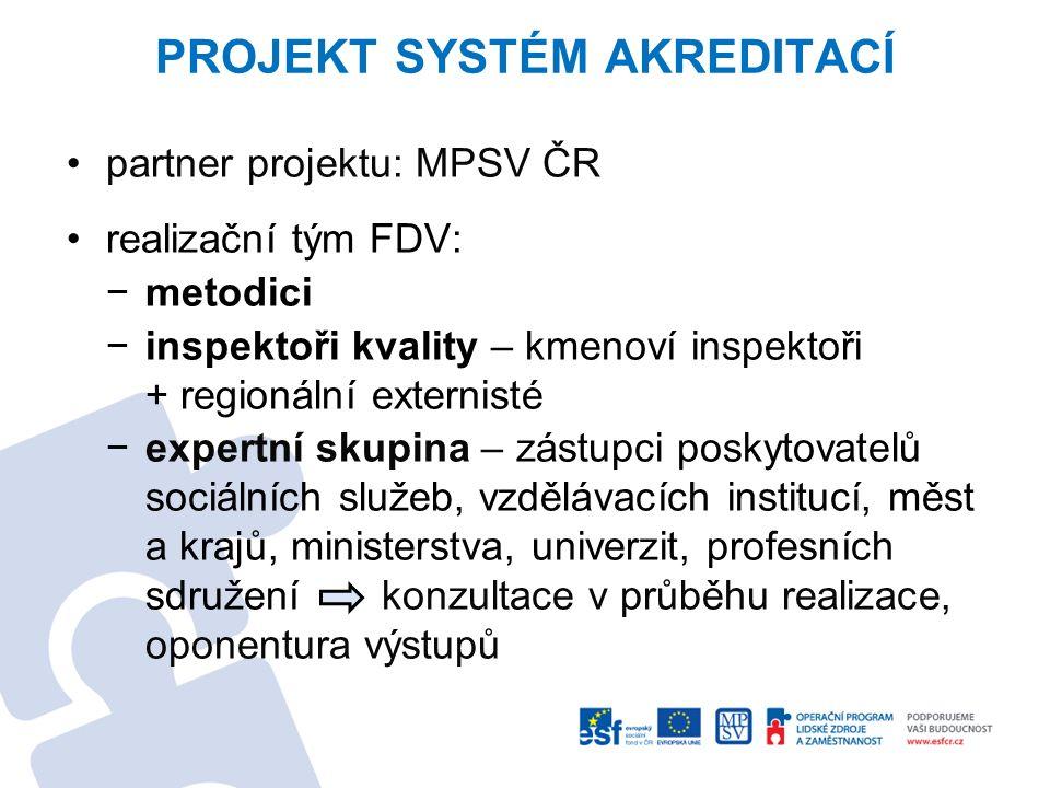 PROJEKT SYSTÉM AKREDITACÍ partner projektu: MPSV ČR realizační tým FDV: −metodici −inspektoři kvality – kmenoví inspektoři + regionální externisté −ex