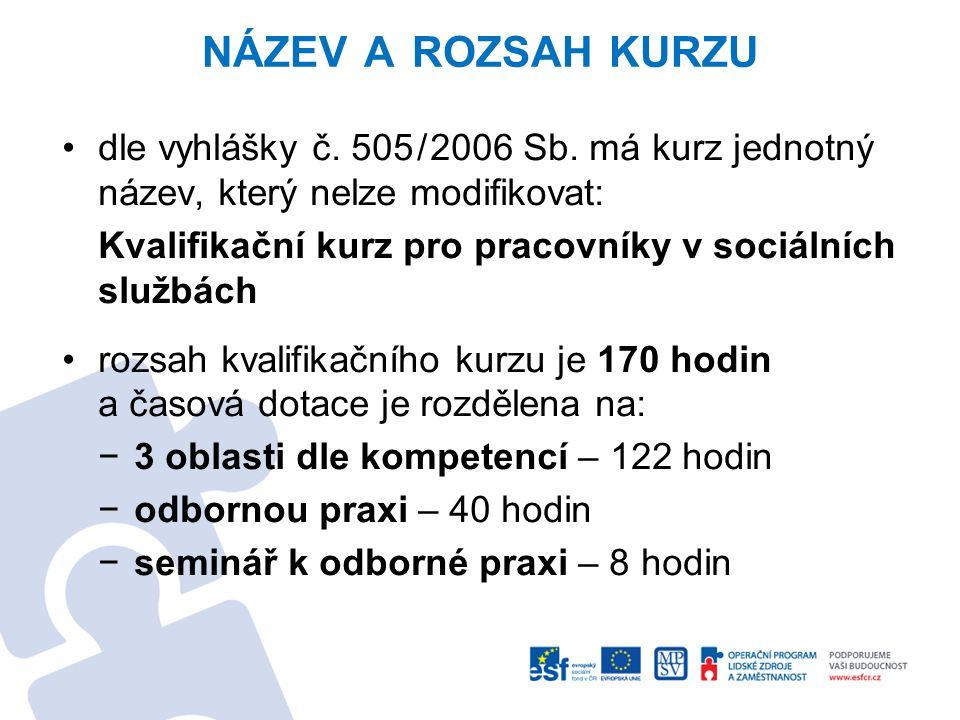 NÁZEV A ROZSAH KURZU dle vyhlášky č. 505/2006 Sb. má kurz jednotný název, který nelze modifikovat: Kvalifikační kurz pro pracovníky v sociálních služb