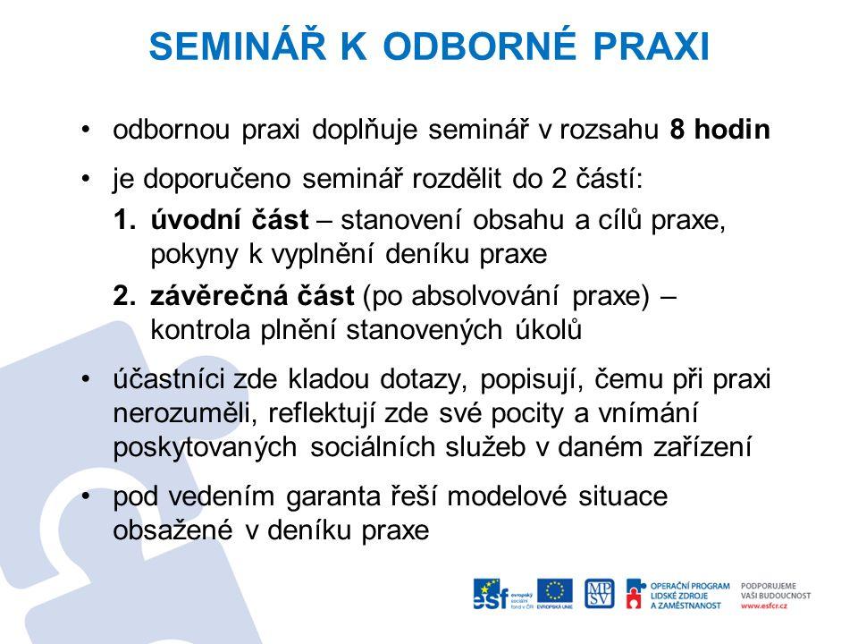 SEMINÁŘ K ODBORNÉ PRAXI odbornou praxi doplňuje seminář v rozsahu 8 hodin je doporučeno seminář rozdělit do 2 částí: 1.úvodní část – stanovení obsahu