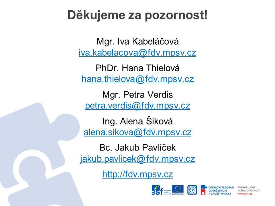 Děkujeme za pozornost! Mgr. Iva Kabeláčová iva.kabelacova@fdv.mpsv.cz PhDr. Hana Thielová hana.thielova@fdv.mpsv.cz Mgr. Petra Verdis petra.verdis@fdv