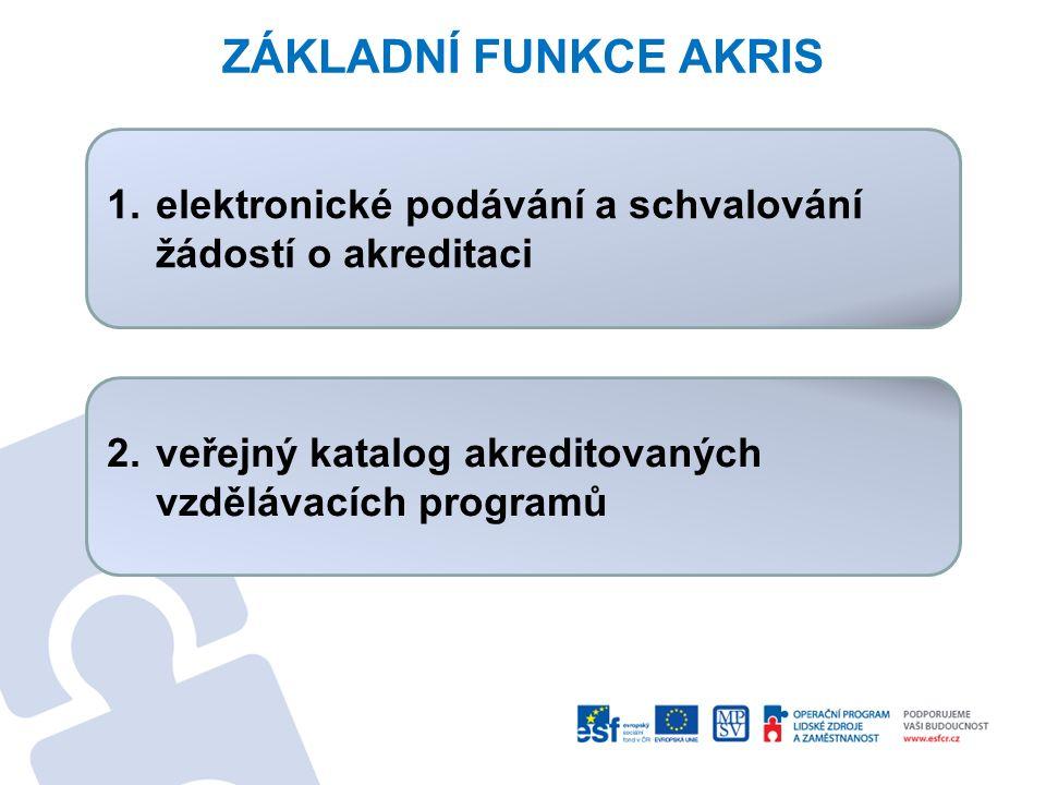 ZÁKLADNÍ FUNKCE AKRIS 1.elektronické podávání a schvalování žádostí o akreditaci 2. veřejný katalog akreditovaných vzdělávacích programů