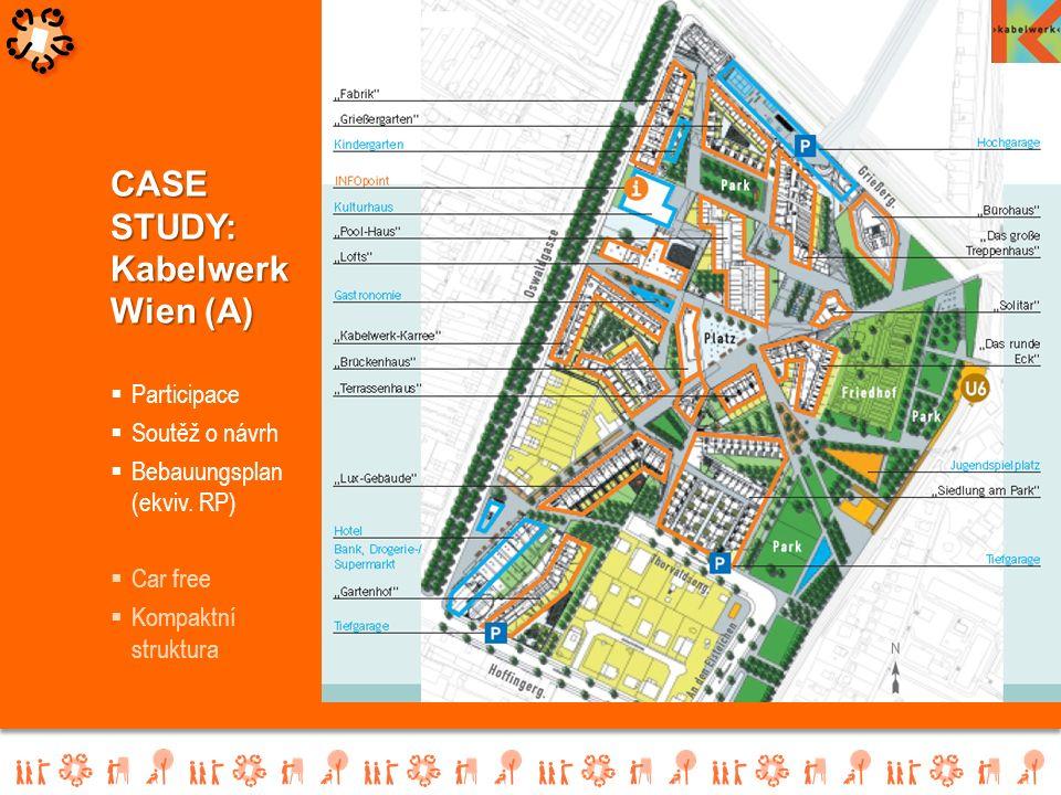  Participace  Soutěž o návrh  Bebauungsplan (ekviv. RP)  Car free  Kompaktní struktura CASE STUDY: Kabelwerk Wien (A)