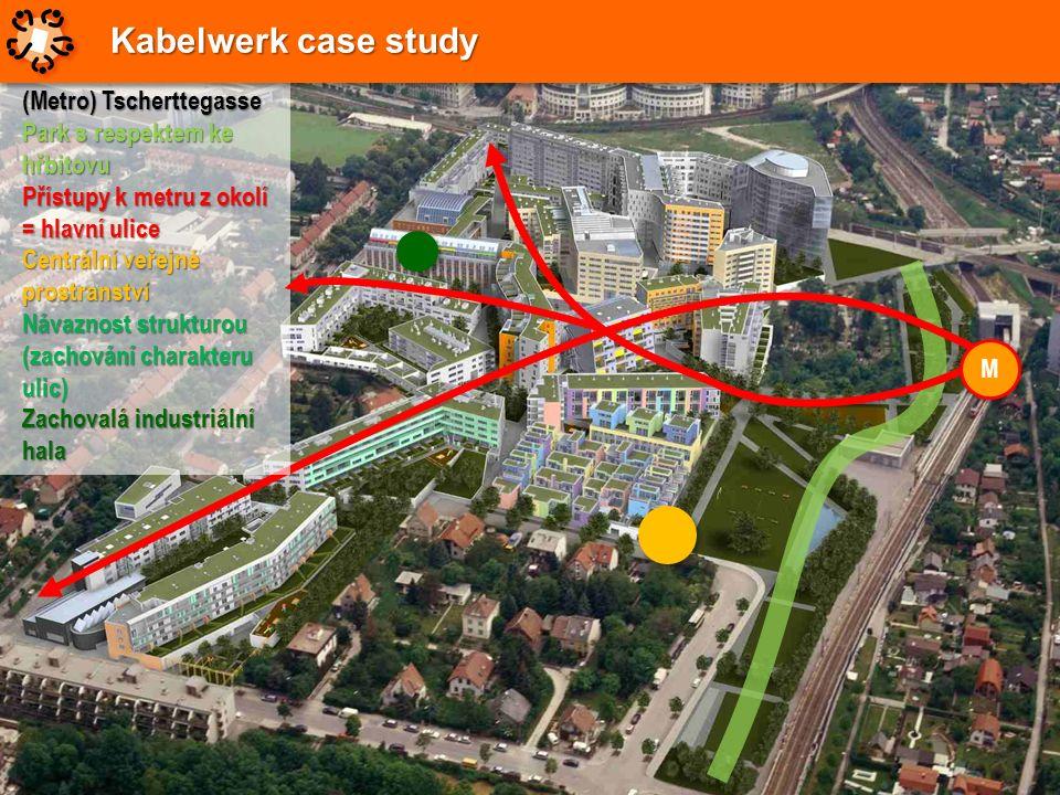 (Metro) Tscherttegasse Park s respektem ke hřbitovu Přístupy k metru z okolí = hlavní ulice Centrální veřejné prostranství Návaznost strukturou (zacho