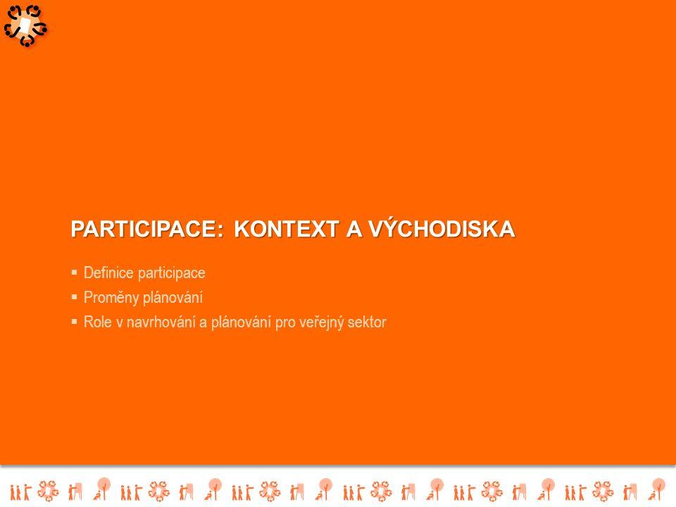  Definice participace  Proměny plánování  Role v navrhování a plánování pro veřejný sektor PARTICIPACE: KONTEXT A VÝCHODISKA