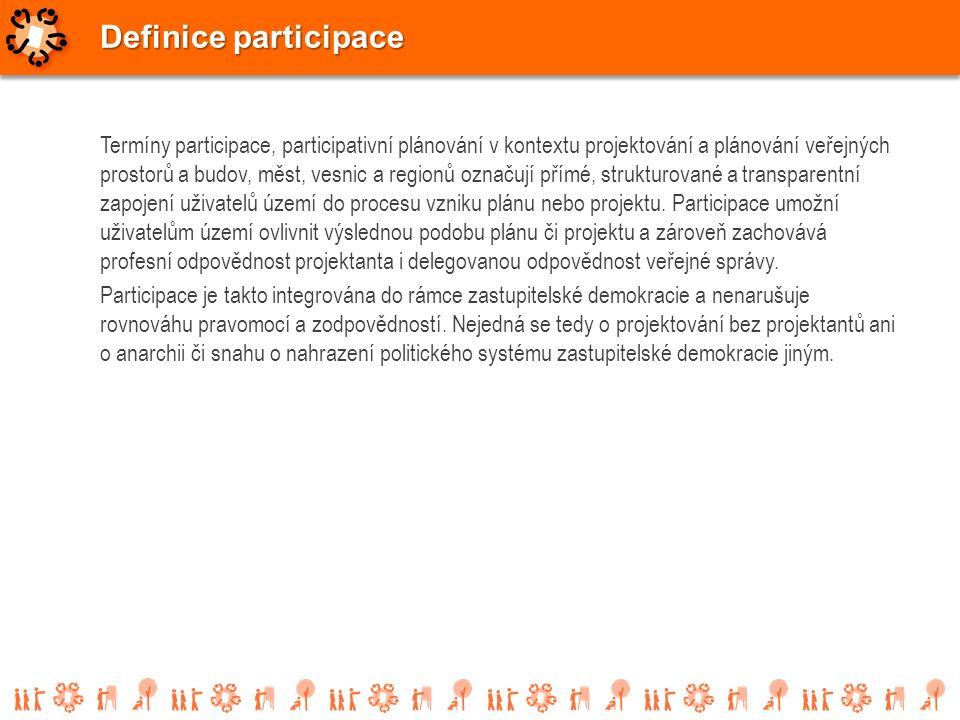 Termíny participace, participativní plánování v kontextu projektování a plánování veřejných prostorů a budov, měst, vesnic a regionů označují přímé, s