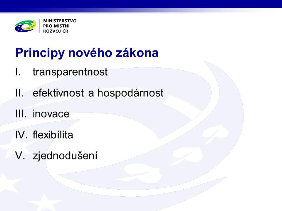 I.transparentnost II.efektivnost a hospodárnost III.inovace IV.flexibilita V.zjednodušení Principy nového zákona