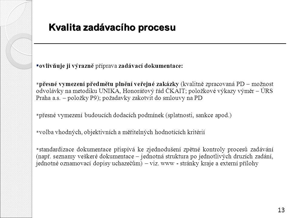 Kvalita zadávacího procesu  ovlivňuje ji výrazně příprava zadávací dokumentace:  přesné vymezení předmětu plnění veřejné zakázky (kvalitně zpracovaná PD – možnost odvolávky na metodiku UNIKA, Honorářový řád ČKAIT; položkové výkazy výměr – ÚRS Praha a.s.