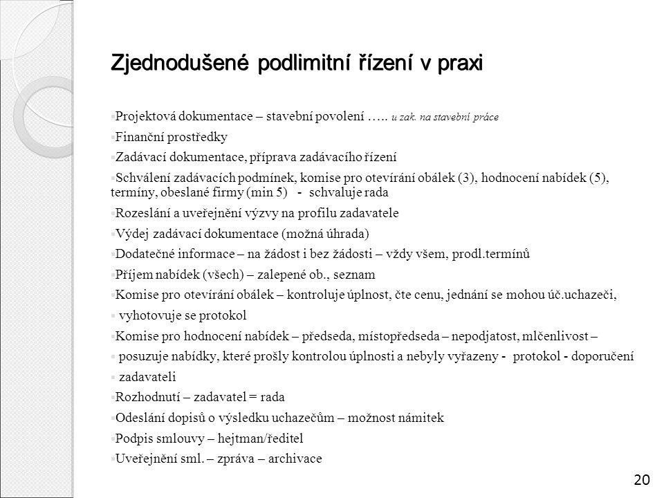 Zjednodušené podlimitní řízení v praxi  Projektová dokumentace – stavební povolení …..