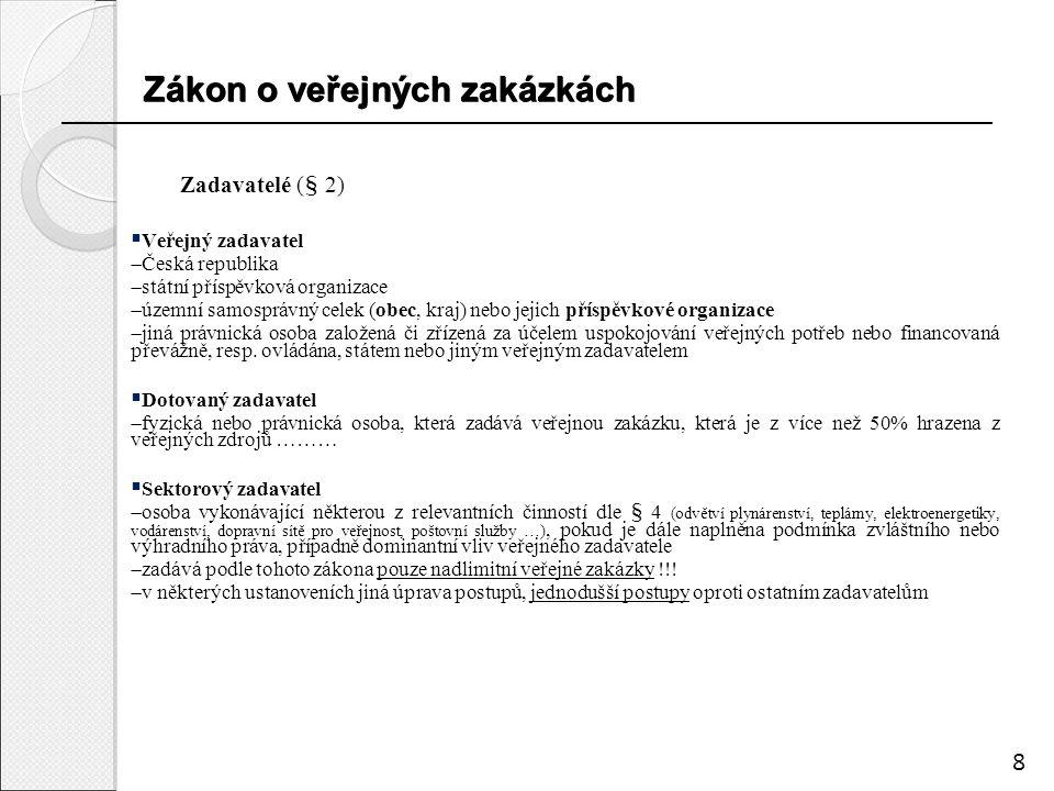 Zákon o veřejných zakázkách Zákon o veřejných zakázkách Zadavatelé (§ 2)  Veřejný zadavatel  Česká republika  státní příspěvková organizace  územní samosprávný celek (obec, kraj) nebo jejich příspěvkové organizace  jiná právnická osoba založená či zřízená za účelem uspokojování veřejných potřeb nebo financovaná převážně, resp.