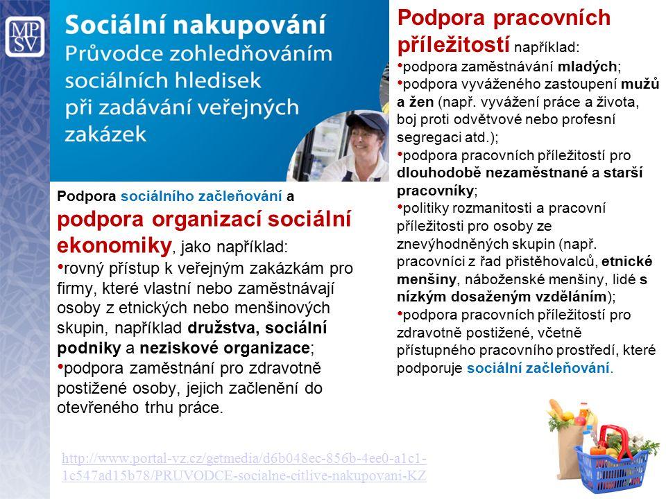 Podpora sociálního začleňování a podpora organizací sociální ekonomiky, jako například: rovný přístup k veřejným zakázkám pro firmy, které vlastní nebo zaměstnávají osoby z etnických nebo menšinových skupin, například družstva, sociální podniky a neziskové organizace; podpora zaměstnání pro zdravotně postižené osoby, jejich začlenění do otevřeného trhu práce.