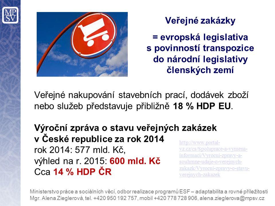 Veřejné zakázky = evropská legislativa s povinností transpozice do národní legislativy členských zemí http://www.portal- vz.cz/cs/Spoluprace-a-vymena-