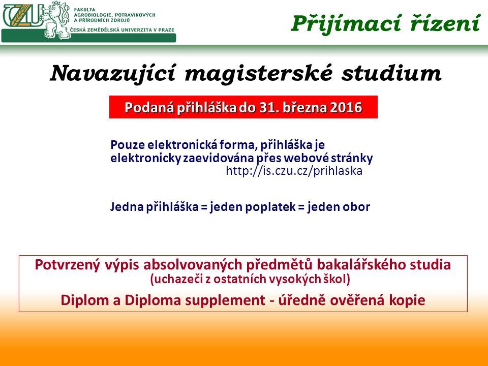 Potvrzený výpis absolvovaných předmětů bakalářského studia (uchazeči z ostatních vysokých škol) Diplom a Diploma supplement - úředně ověřená kopie Při