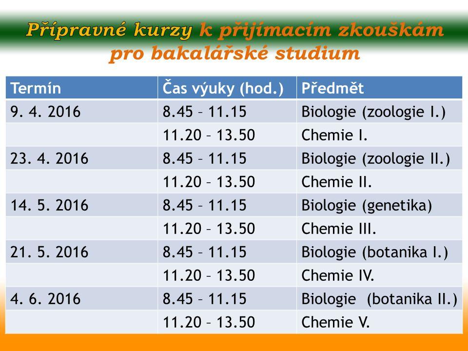 TermínČas výuky (hod.)Předmět 9. 4. 20168.45 – 11.15Biologie (zoologie I.) 11.20 – 13.50Chemie I. 23. 4. 20168.45 – 11.15Biologie (zoologie II.) 11.20