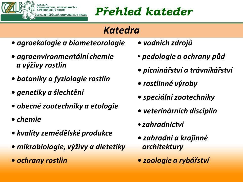 agroekologie a biometeorologie agroenvironmentální chemie a výživy rostlin botaniky a fyziologie rostlin genetiky a šlechtění obecné zootechniky a eto