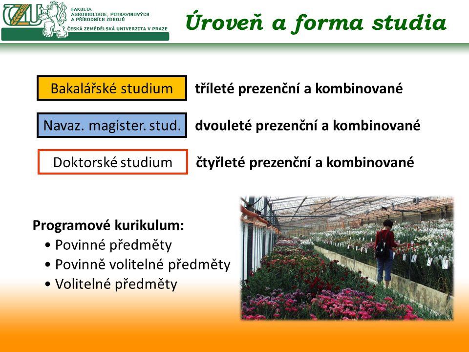 Bakalářské studium tříleté prezenční a kombinované Navaz.