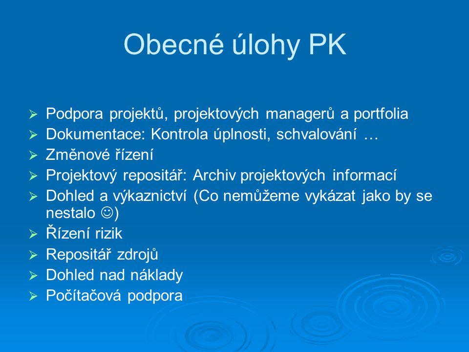 Obecné úlohy PK   Podpora projektů, projektových managerů a portfolia   Dokumentace: Kontrola úplnosti, schvalování …   Změnové řízení   Projektový repositář: Archiv projektových informací   Dohled a výkaznictví (Co nemůžeme vykázat jako by se nestalo )   Řízení rizik   Repositář zdrojů   Dohled nad náklady   Počítačová podpora