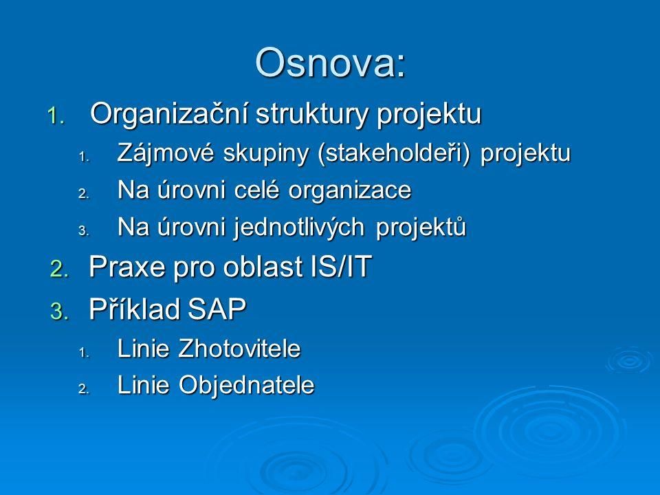 Osnova: 1. Organizační struktury projektu 1. Zájmové skupiny (stakeholdeři) projektu 2.