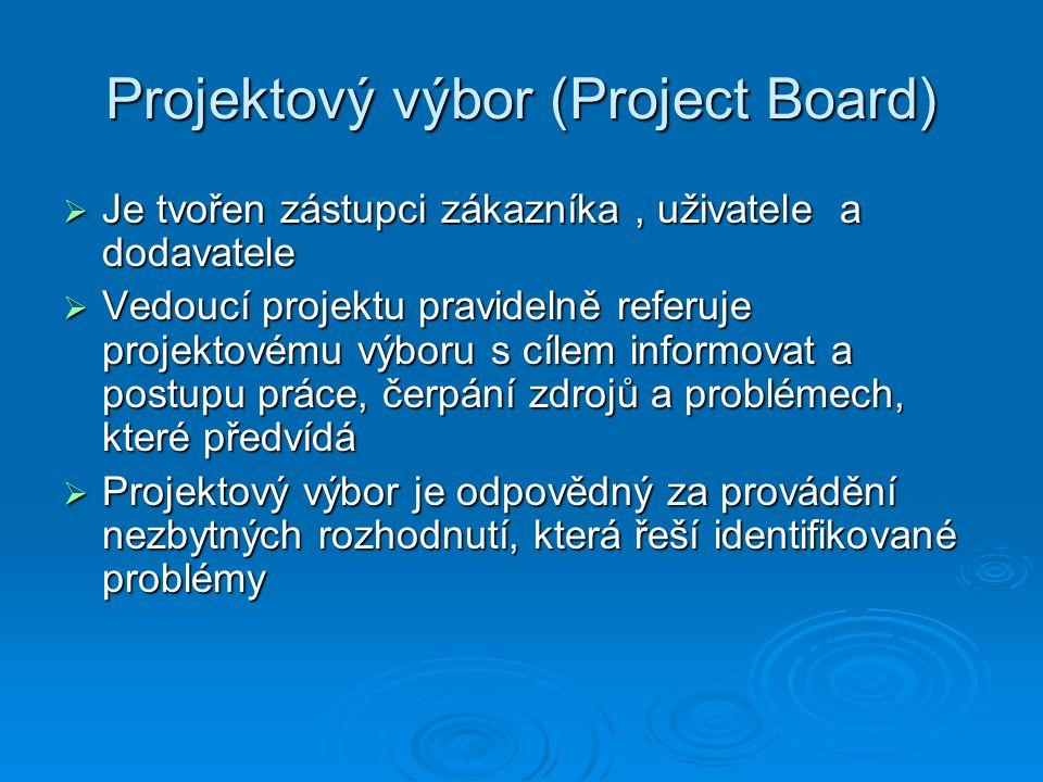 Projektový výbor (Project Board)  Je tvořen zástupci zákazníka, uživatele a dodavatele  Vedoucí projektu pravidelně referuje projektovému výboru s cílem informovat a postupu práce, čerpání zdrojů a problémech, které předvídá  Projektový výbor je odpovědný za provádění nezbytných rozhodnutí, která řeší identifikované problémy