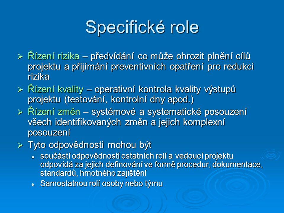 Specifické role  Řízení rizika – předvídání co může ohrozit plnění cílů projektu a přijímání preventivních opatření pro redukci rizika  Řízení kvality – operativní kontrola kvality výstupů projektu (testování, kontrolní dny apod.)  Řízení změn – systémové a systematické posouzení všech identifikovaných změn a jejich komplexní posouzení  Tyto odpovědnosti mohou být součástí odpovědností ostatních rolí a vedoucí projektu odpovídá za jejich definování ve formě procedur, dokumentace, standardů, hmotného zajištění součástí odpovědností ostatních rolí a vedoucí projektu odpovídá za jejich definování ve formě procedur, dokumentace, standardů, hmotného zajištění Samostatnou rolí osoby nebo týmu Samostatnou rolí osoby nebo týmu