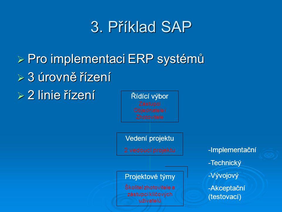 3. Příklad SAP  Pro implementaci ERP systémů  3 úrovně řízení  2 linie řízení Řídící výbor Zástupci Objednatele i Zhotovitele Vedení projektu 2 ved