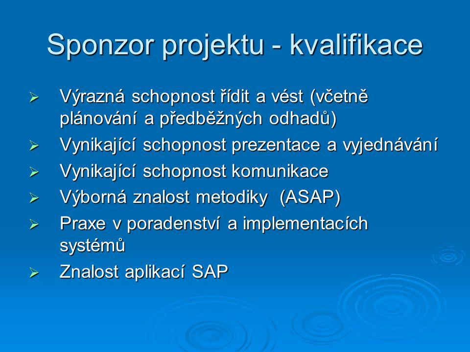 Sponzor projektu - kvalifikace  Výrazná schopnost řídit a vést (včetně plánování a předběžných odhadů)  Vynikající schopnost prezentace a vyjednávání  Vynikající schopnost komunikace  Výborná znalost metodiky (ASAP)  Praxe v poradenství a implementacích systémů  Znalost aplikací SAP
