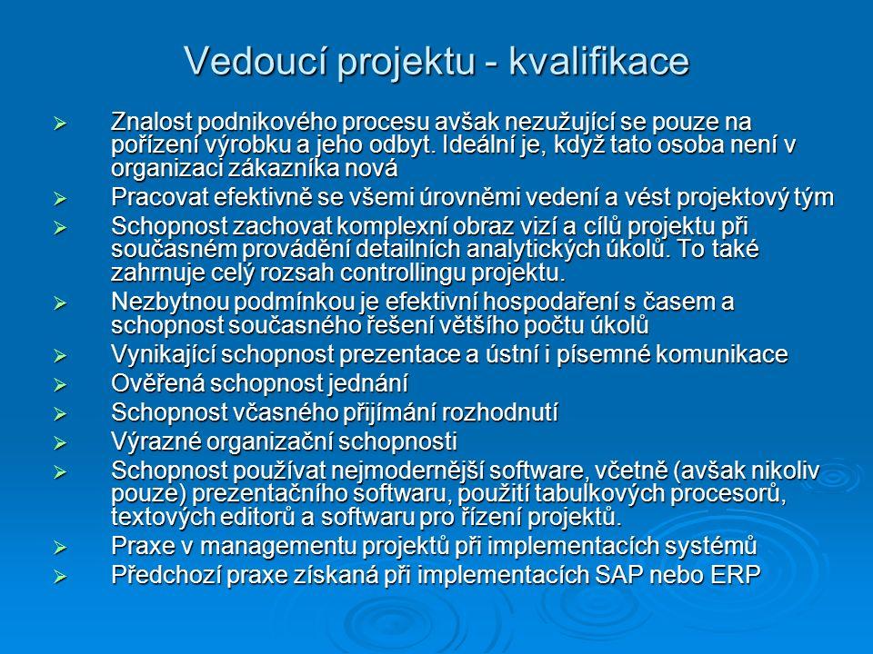 Vedoucí projektu - kvalifikace  Znalost podnikového procesu avšak nezužující se pouze na pořízení výrobku a jeho odbyt.