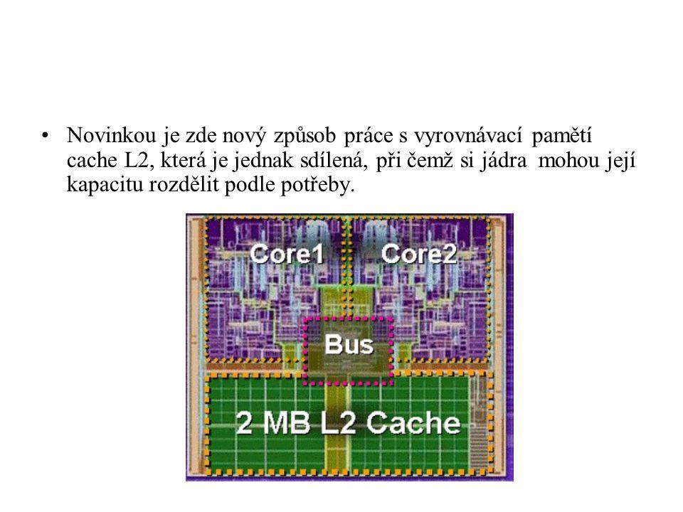 Novinkou je zde nový způsob práce s vyrovnávací pamětí cache L2, která je jednak sdílená, při čemž si jádra mohou její kapacitu rozdělit podle potřeby