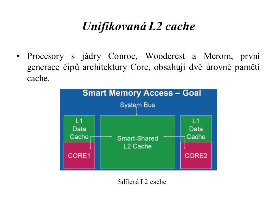 Unifikovaná L2 cache Procesory s jádry Conroe, Woodcrest a Merom, první generace čipů architektury Core, obsahují dvě úrovně pamětí cache. Sdílená L2