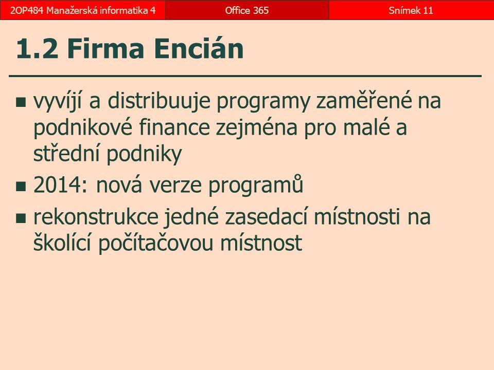 1.2 Firma Encián vyvíjí a distribuuje programy zaměřené na podnikové finance zejména pro malé a střední podniky 2014: nová verze programů rekonstrukce jedné zasedací místnosti na školící počítačovou místnost Office 365Snímek 112OP484 Manažerská informatika 4