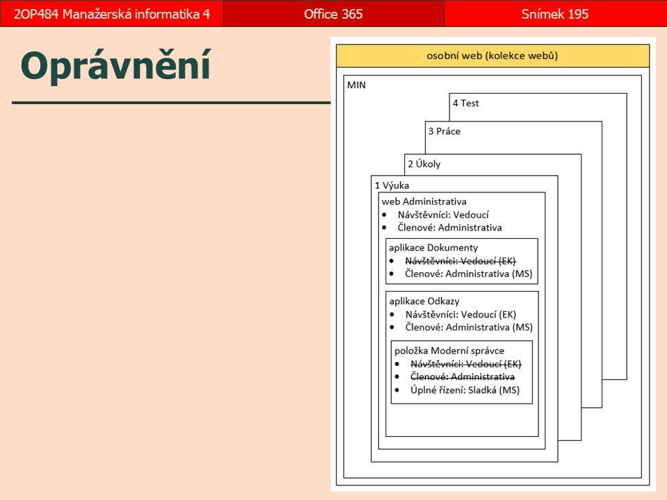 Oprávnění Office 365Snímek 1952OP484 Manažerská informatika 4