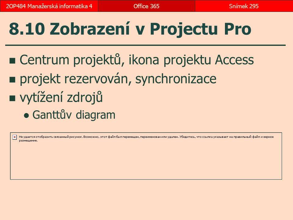 8.10 Zobrazení v Projectu Pro Centrum projektů, ikona projektu Access projekt rezervován, synchronizace vytížení zdrojů Ganttův diagram Office 365Snímek 2952OP484 Manažerská informatika 4