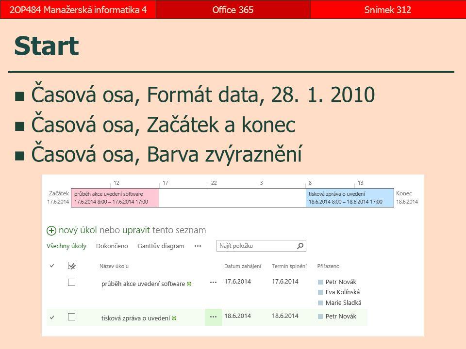 Start Časová osa, Formát data, 28.1.