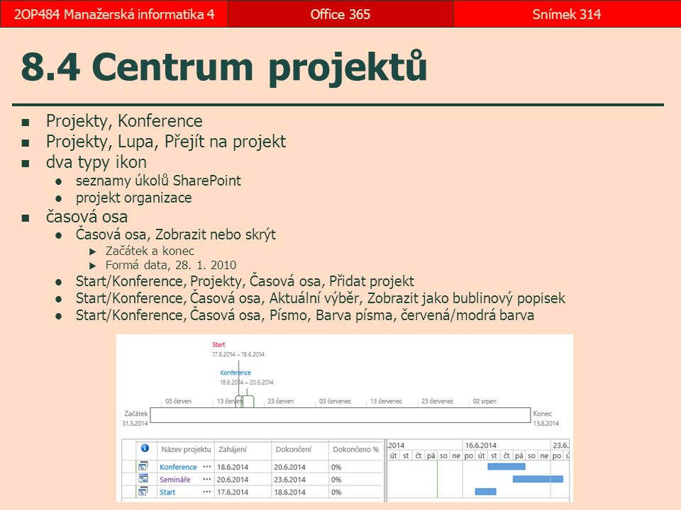 8.4 Centrum projektů Projekty, Konference Projekty, Lupa, Přejít na projekt dva typy ikon seznamy úkolů SharePoint projekt organizace časová osa Časová osa, Zobrazit nebo skrýt  Začátek a konec  Formá data, 28.