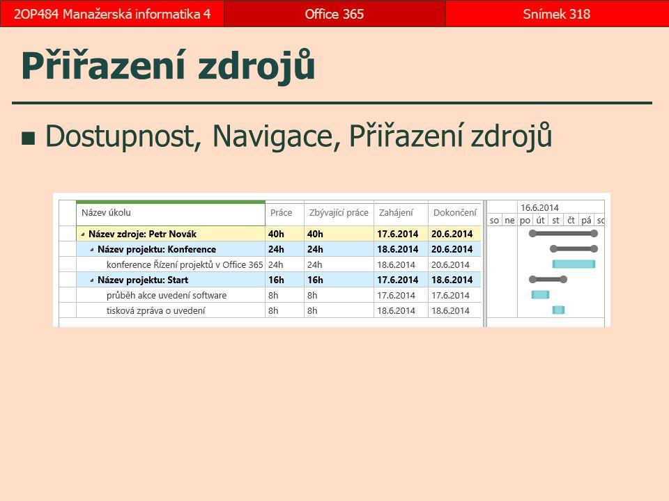 Přiřazení zdrojů Dostupnost, Navigace, Přiřazení zdrojů Office 365Snímek 3182OP484 Manažerská informatika 4