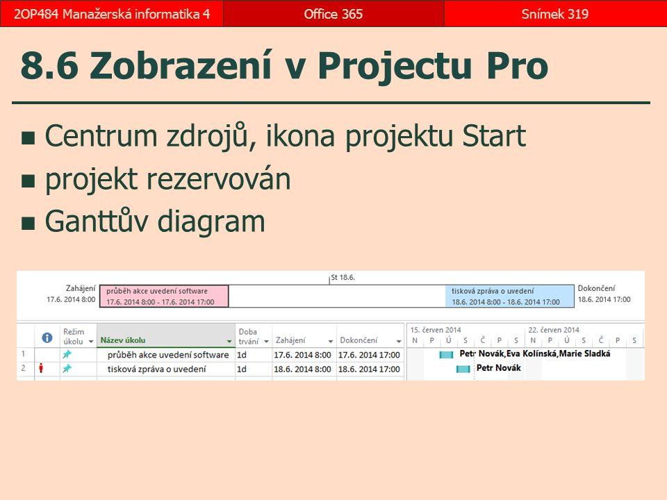 8.6 Zobrazení v Projectu Pro Centrum zdrojů, ikona projektu Start projekt rezervován Ganttův diagram Office 365Snímek 3192OP484 Manažerská informatika 4