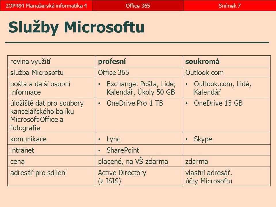 Služby Microsoftu Office 365Snímek 72OP484 Manažerská informatika 4 rovina využitíprofesnísoukromá služba MicrosoftuOffice 365Outlook.com pošta a další osobní informace Exchange: Pošta, Lidé, Kalendář, Úkoly 50 GB Outlook.com, Lidé, Kalendář úložiště dat pro soubory kancelářského balíku Microsoft Office a fotografie OneDrive Pro 1 TB OneDrive 15 GB komunikace Lync Skype intranet SharePoint cenaplacené, na VŠ zdarmazdarma adresář pro sdíleníActive Directory (z ISIS) vlastní adresář, účty Microsoftu