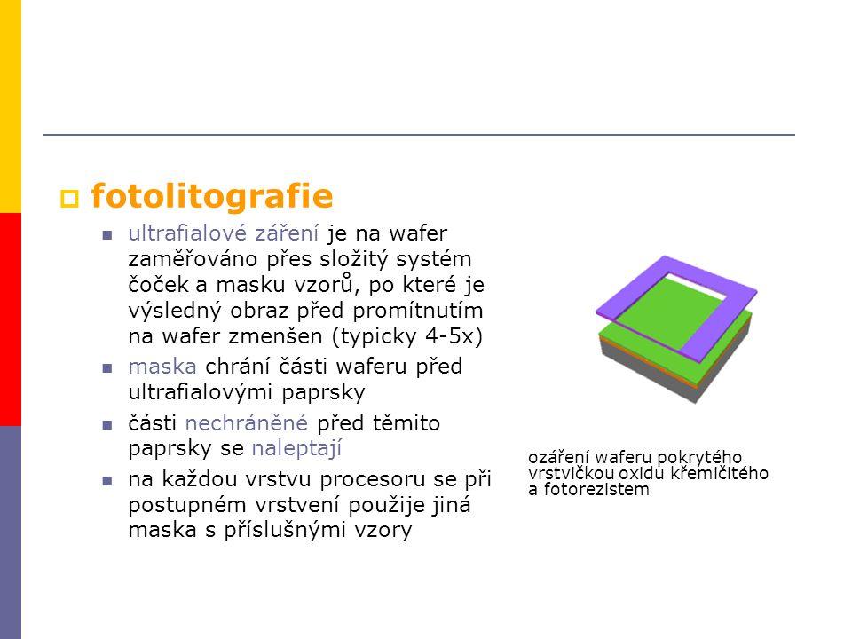  fotolitografie ultrafialové záření je na wafer zaměřováno přes složitý systém čoček a masku vzorů, po které je výsledný obraz před promítnutím na wafer zmenšen (typicky 4-5x) maska chrání části waferu před ultrafialovými paprsky části nechráněné před těmito paprsky se naleptají na každou vrstvu procesoru se při postupném vrstvení použije jiná maska s příslušnými vzory ozáření waferu pokrytého vrstvičkou oxidu křemičitého a fotorezistem