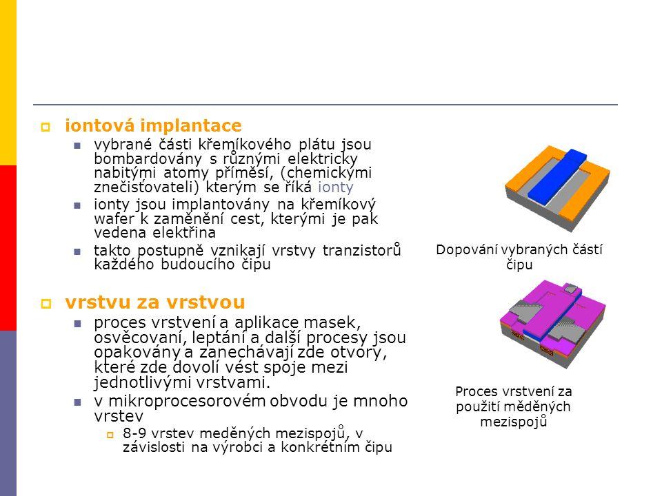  iontová implantace vybrané části křemíkového plátu jsou bombardovány s různými elektricky nabitými atomy příměsí, (chemickými znečisťovateli) kterým se říká ionty ionty jsou implantovány na křemíkový wafer k zaměnění cest, kterými je pak vedena elektřina takto postupně vznikají vrstvy tranzistorů každého budoucího čipu  vrstvu za vrstvou proces vrstvení a aplikace masek, osvěcovaní, leptání a další procesy jsou opakovány a zanechávají zde otvory, které zde dovolí vést spoje mezi jednotlivými vrstvami.