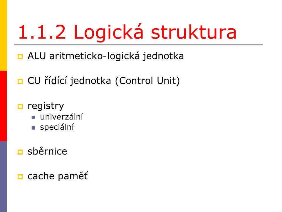 1.1.2 Logická struktura  ALU aritmeticko-logická jednotka  CU řídící jednotka (Control Unit)  registry univerzální speciální  sběrnice  cache paměť