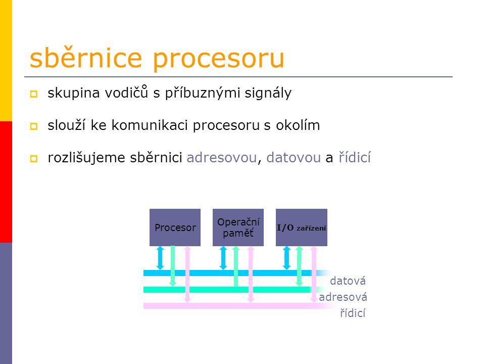 sběrnice procesoru  skupina vodičů s příbuznými signály  slouží ke komunikaci procesoru s okolím  rozlišujeme sběrnici adresovou, datovou a řídicí adresová datová řídicí Procesor Operační paměť I/O zařízení