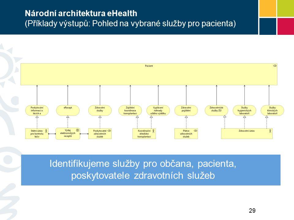 Národní architektura eHealth (Příklady výstupů: Pohled na vybrané služby pro pacienta) Identifikujeme služby pro občana, pacienta, poskytovatele zdravotních služeb 29