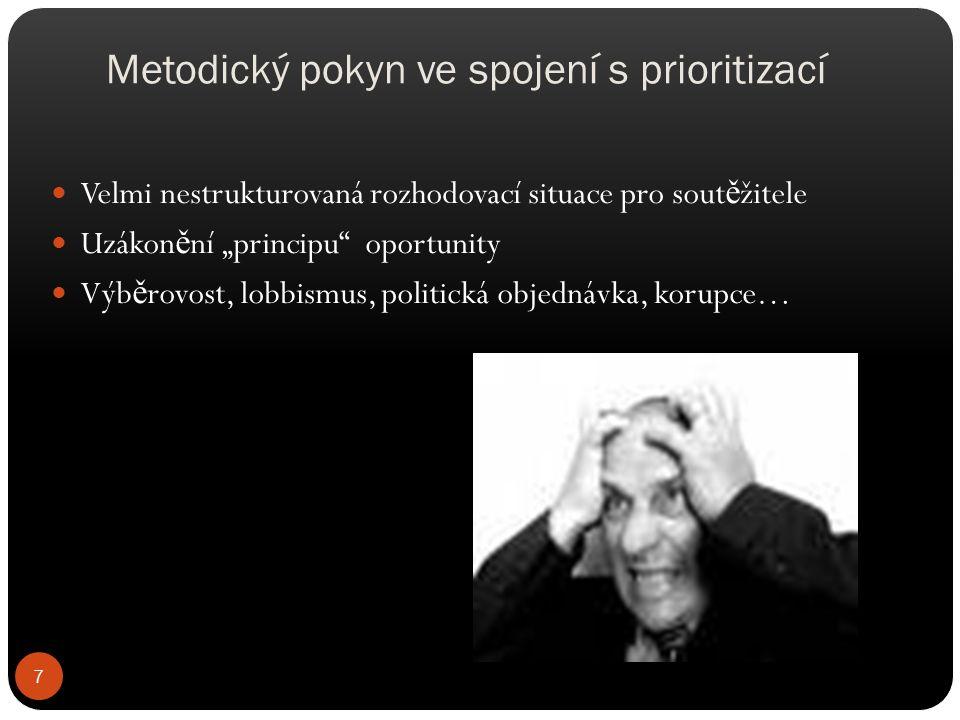 """Metodický pokyn ve spojení s prioritizací Velmi nestrukturovaná rozhodovací situace pro sout ě žitele Uzákon ě ní """"principu"""" oportunity Výb ě rovost,"""